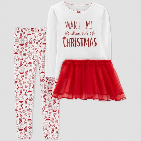 d77fe52bc690 Toddler Girls  3pc Wake Me Up Christmas Pajama Set - Just One You ...