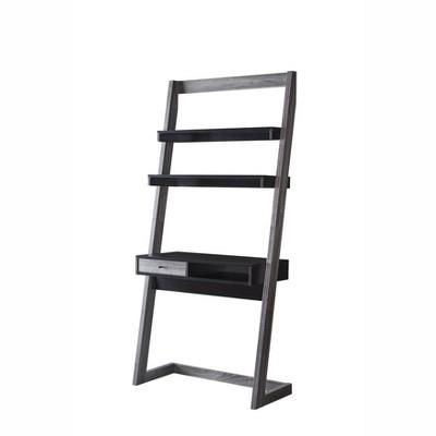 Holten 2 Open Shelves Leaning Desk Black/Distressed Gray - miBasics