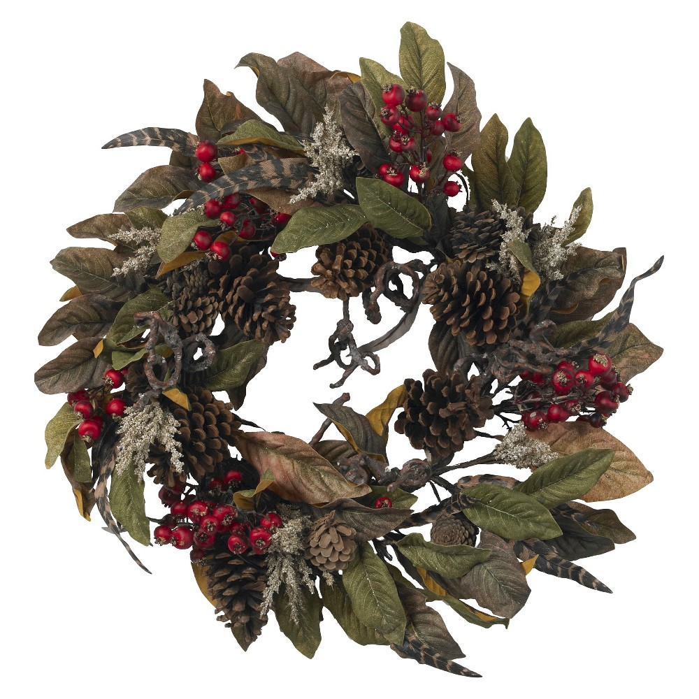 "Image of ""24"""" Pinecone, Berry & Feather Wreath - Nearly Natural"""