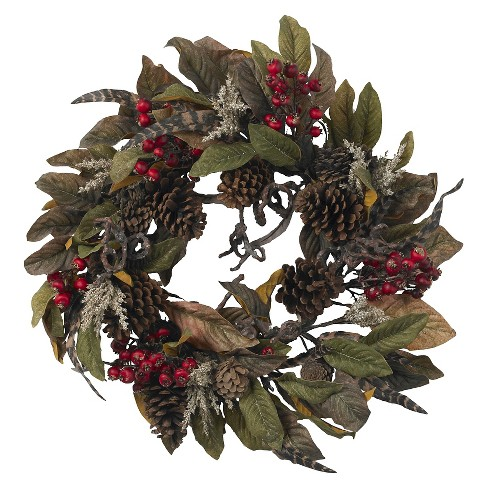 """24"""" Pinecone, Berry & Feather Wreath - Nearly Natural - image 1 of 3"""