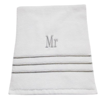 Monogram Hand Towel Mr White/Skyline Gray - Fieldcrest®