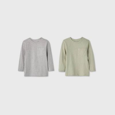 Toddler Boys' 2pk Long Sleeve Ministripe T-Shirt - Cat & Jack™ Green/Gray