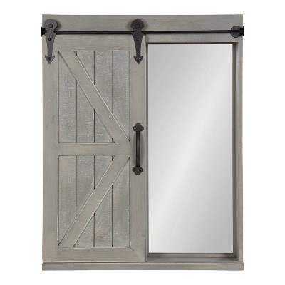 Decorative Wood Wall Storage Cabinet with Vanity Mirror Rustic Gray - Kate & Laurel All Things Decor