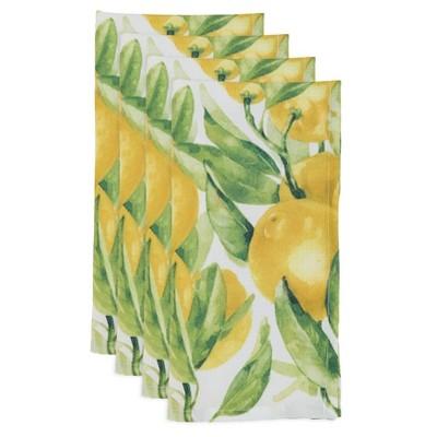12pk Polyester Lemon Print Table Napkins - Saro Lifestyle