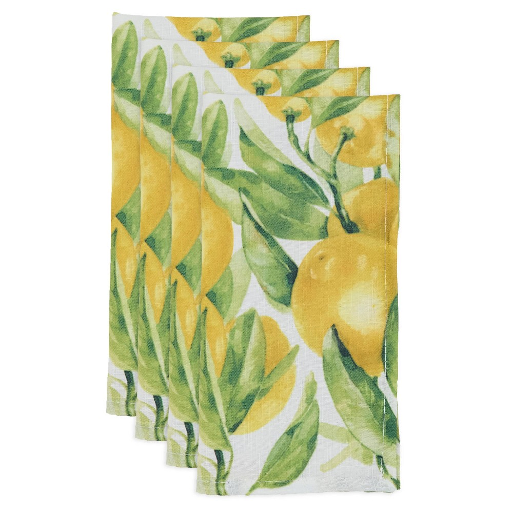 Image of 12pk Polyester Lemon Print Table Napkins - Saro Lifestyle