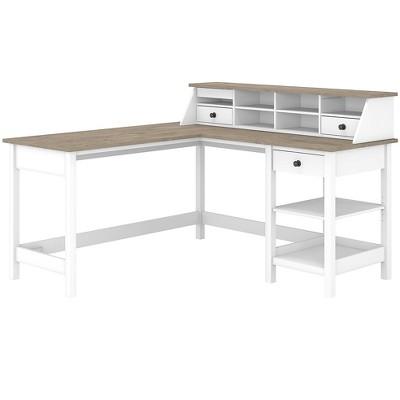 Bush Furniture 60 L-Shaped Computer Desk w/Desktop Organizer Pure White/Shiplap Gray MAY012GW2