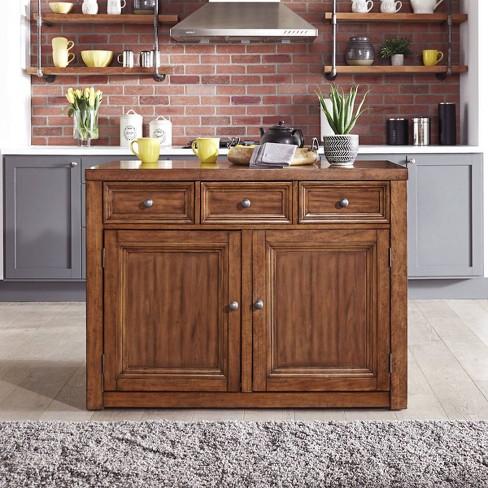 Sedona Wood Top Kitchen Island Brown - Home Styles