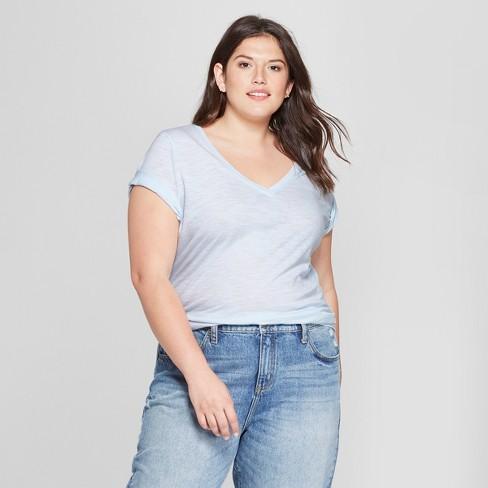 e2794b22e22 Women s Plus Size V-Neck Short Sleeve T-Shirt - Ava   Viv™ Pale Blue ...