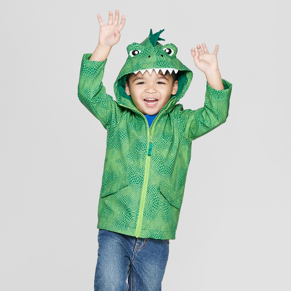 Toddler Boys' Dinosaur Rain Jacket - Cat & Jack Green 5T