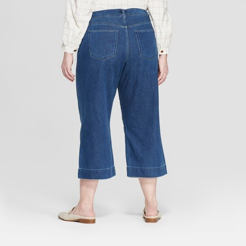 e86d8ed0ae Women s Plus Size Side Belted Wide Leg Jeans - Universal Thread™ Medium Wash