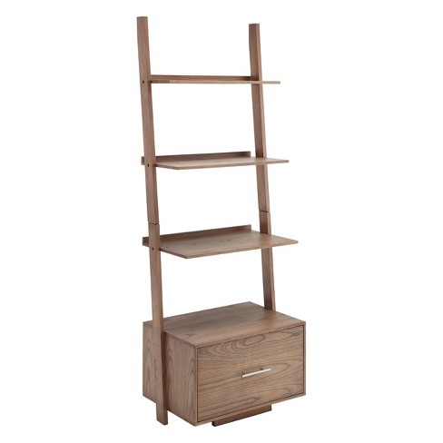"""69"""" American Heritage with File Drawer Ladder Bookcase Driftwood Gray - Johar Furniture - image 1 of 3"""