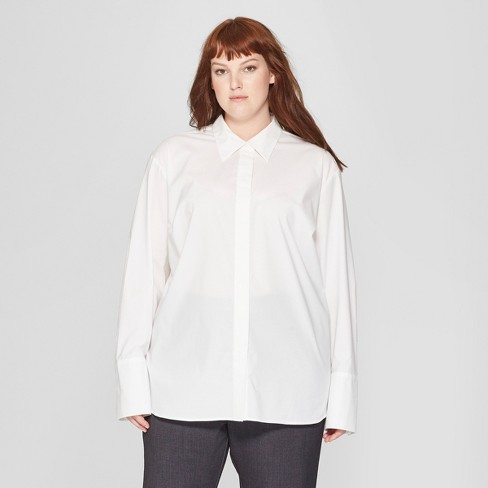 42fbe0b83 Women's Plus Size Long Sleeve Button-Down Collared Shirt - Prologue™ White  : Target
