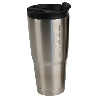 Engel Coolers 30-Ounce Stainless Steel Double Wall Vacuum-Insulated Hot/Cold Drinks Travel Tumbler with No-Spill Lid and Non-Slip Base, Silver