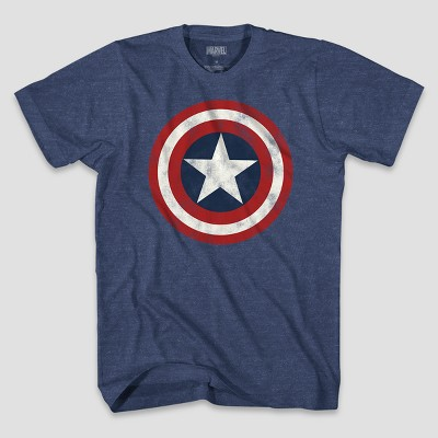 Men's Marvel Captain America Logo Short Sleeve Graphic T-Shirt Denim Heather