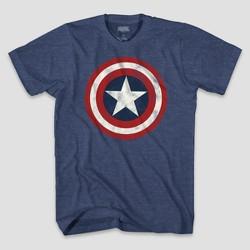 Men's Marvel Captain America Logo Short Sleeve Graphic T-Shirt Denim Heather