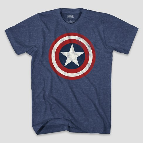 Men's Short Sleeve Marvel Captain America Shield T-Shirt - Denim Heather