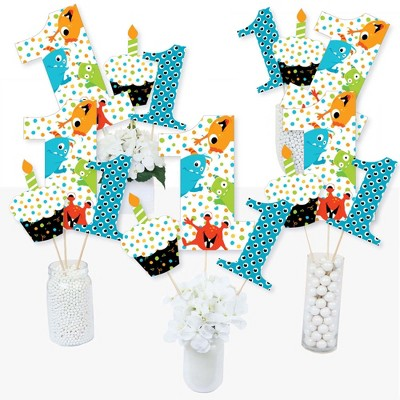 Big Dot of Happiness 1st Birthday Monster Bash - Little Monster First Birthday Party Centerpiece Sticks - Table Toppers - Set of 15