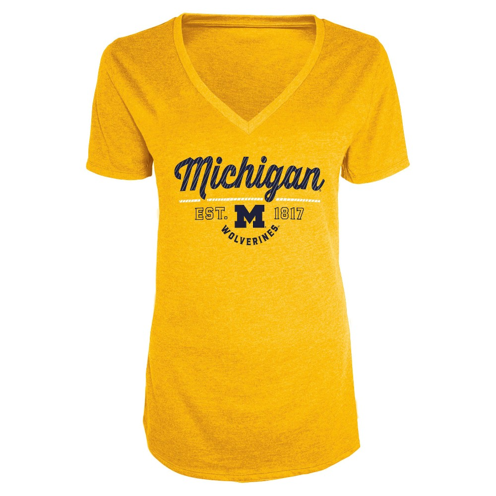 NCAA Women's Bright Spot V-Neck Bi-Blend T-Shirt Michigan Wolverines - XL, Multicolored