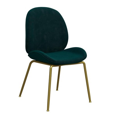 Astor Velvet Upholstered Dining Chair with Brass Metal Legs - CosmoLiving by Cosmopolitan