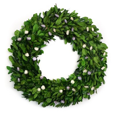 Preserved Holly Leaf Wreath with White/Lavender Thistle Flower - Smith & Hawken™