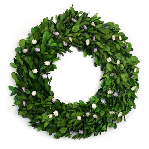 Preserved holly leaf wreath with whitelavender thistle flower about this item mightylinksfo