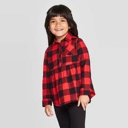 Toddler Girls' Long Sleeve Button-Down Shirt - Cat & Jack™ Red