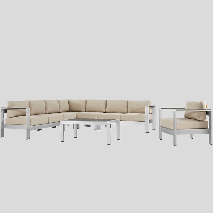 Shore 7pc Outdoor Patio Aluminum Sectional Sofa Set - Modway - image 1 of 2