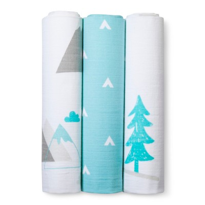 Muslin Swaddle Blankets Adventure Awaits 3pk - Cloud Island™ Light Blue
