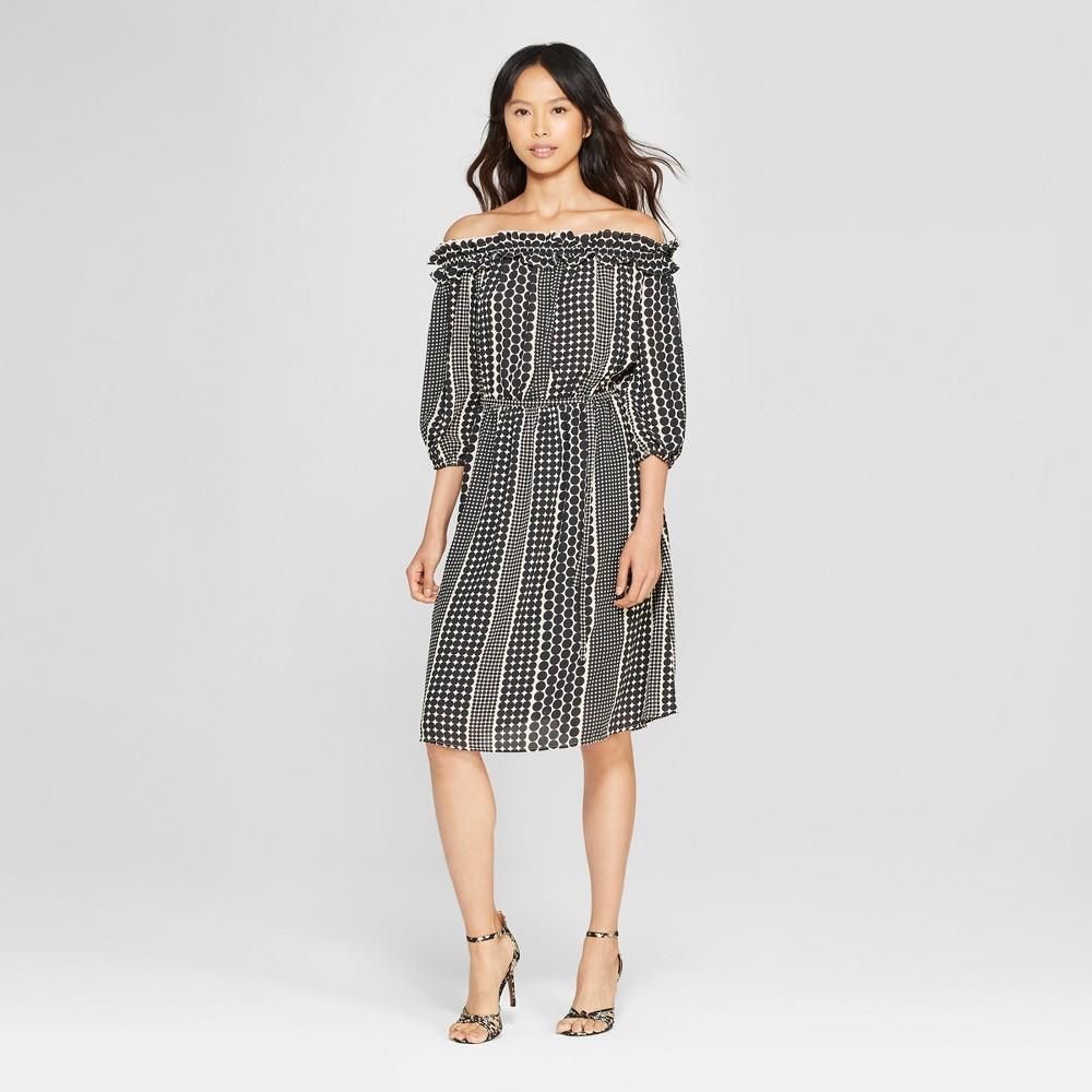 Women's Polka Dot Ruffle Bardot Dress - Who What Wear Black XXL, Size: XXL was $34.99 now $10.49 (70.0% off)