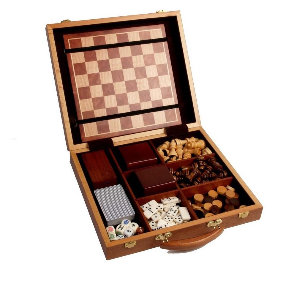 6 In 1 Burlwood Game Set Board Game
