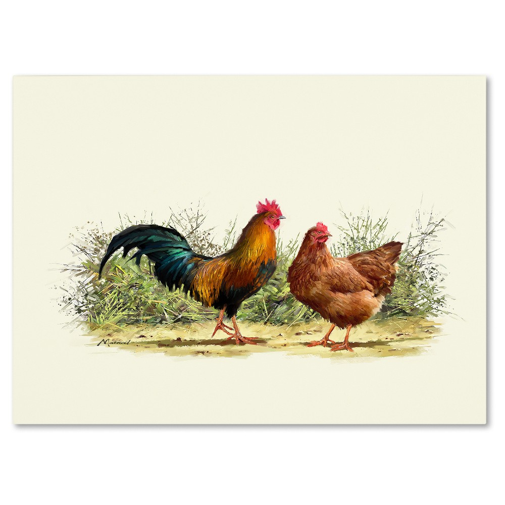 'Cockerel And Hen Copy' by The Macneil Studio Ready to Hang Canvas Wall Art, Multicolored