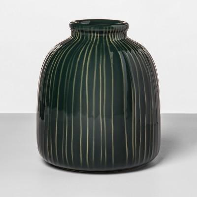 6.9  x 6.1  Stoneware Textured Vase Green - Opalhouse™