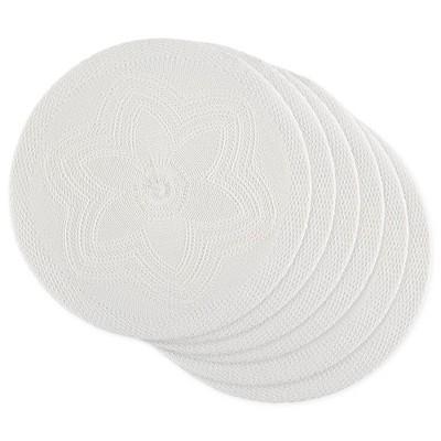 6pk Plastic Woven Floral Placemats White - Design Imports