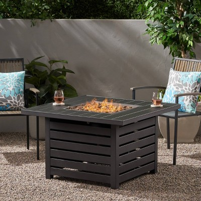"""Rene Square 39.25"""" Iron Gas Fire Pit Matte Black - Christopher Knight Home"""
