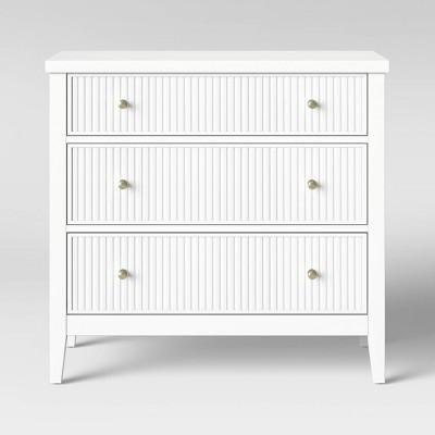 Wrentham Beadboard Farmhouse 3 Drawer Dresser White - Threshold™