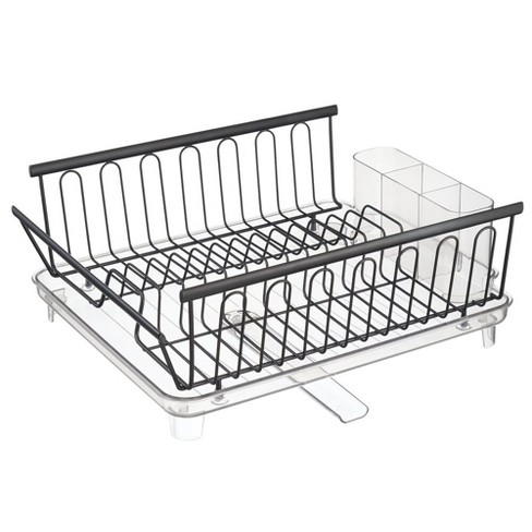 mDesign Large Kitchen Dish Drying Rack with Adjustable Swivel Spout - image 1 of 4