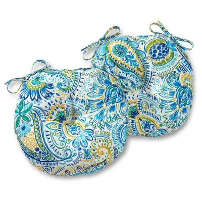 """Set of Two 15"""" Painted Paisley Outdoor Bistro Chair Cushions - Kensington Garden"""