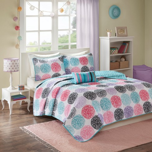 Brittany Polka Dot Quilted Reversible Coverlet Set Purple