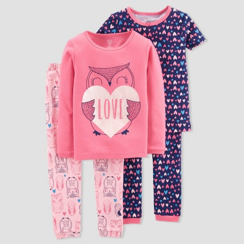 b1c2d7310 Baby Girls  4pc Owl Love Candy Pajama Set Just One You™ Made By ...