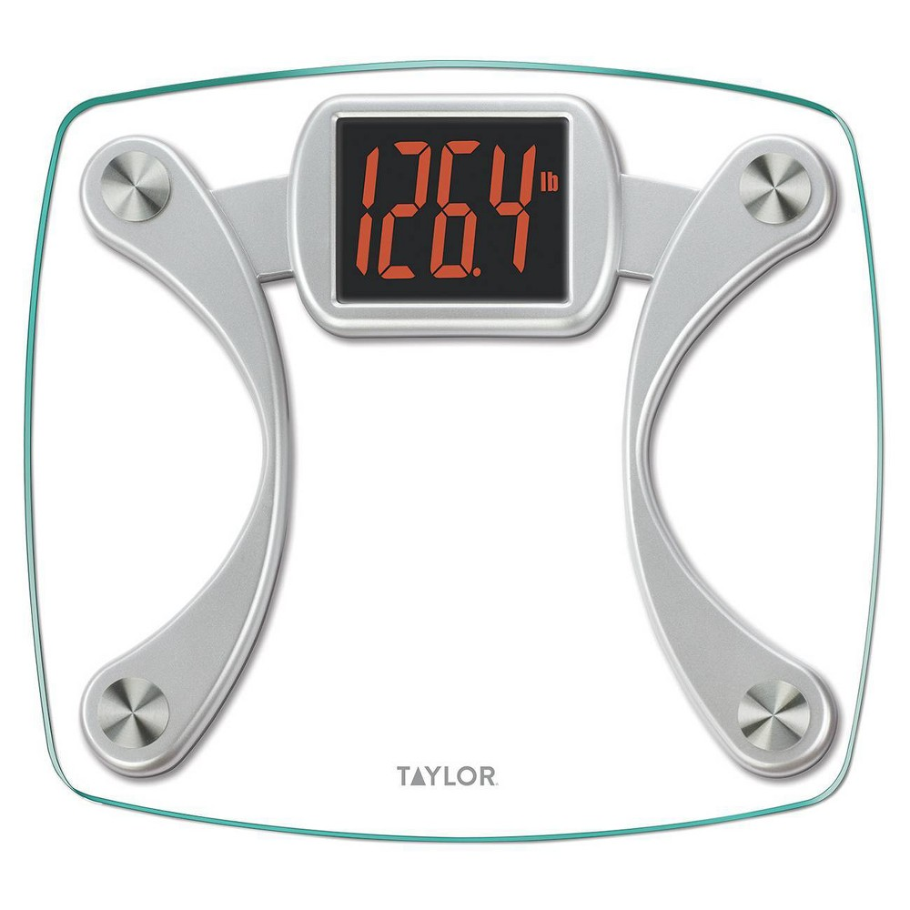Image of Digital Glass Scale with Red Read Out Clear/Silver - Taylor