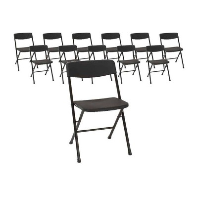 Cosco Set of 12 Resin Folding Chair with Molded Seat and Back Black