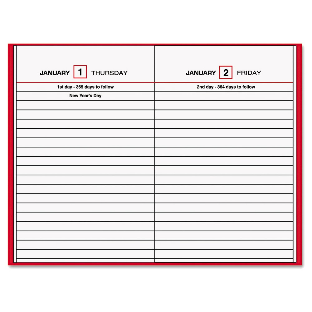 At-A-Glance Standard Diary Recycled Daily Reminder - Red, Red/White