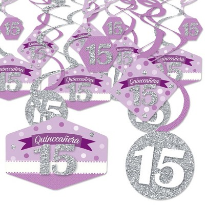 Big Dot of Happiness Quinceanera Purple - Sweet 15 - Birthday Party Hanging Decor - Party Decoration Swirls - Set of 40