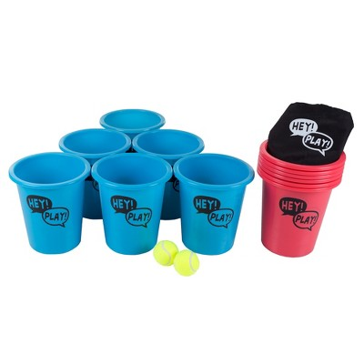 Hey! Play! Giant Beer Pong Outdoor Game Set for Kids and Adults with 12 Buckets/2 Balls and Tote Bag
