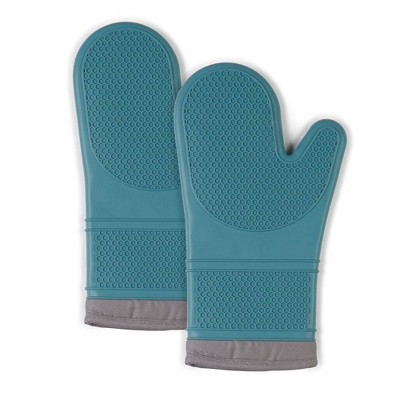 "2pk 7.5""X13"" Silicone Oven Mitts Teal - Town & Country Living"