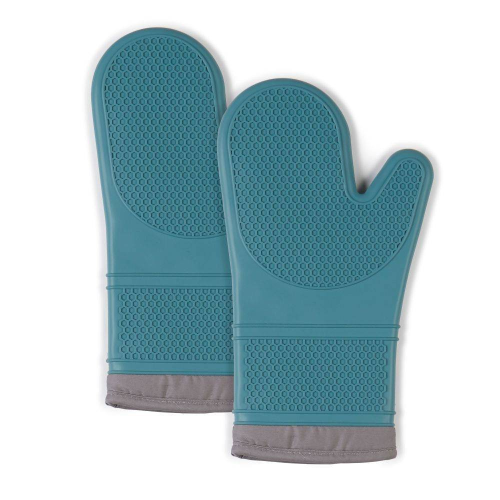 """Image of """"2pk 7.5""""""""X13"""""""" Silicone Oven Mitts Teal - Town & Country Living"""""""