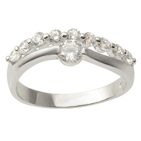 3/5 CT. T.W. Round-cut Cubic Zirconia Engagement Prong Set Ring in Sterling Silver - Silver - image 1 of 2