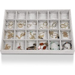 Juvale Velvet 24 Grids Jewelry Tray, Stackable Jewelry Storage Display Organizer Tray for Earrings, Necklaces, Rings and Bracelet