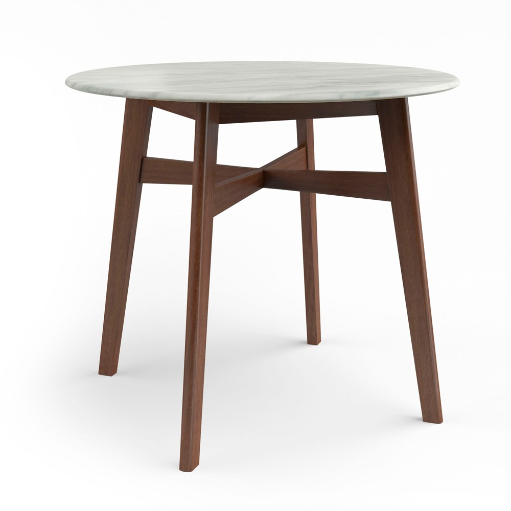 36 Simon Round Dining Table with Faux Marble Top Walnut (Brown) - Aeon