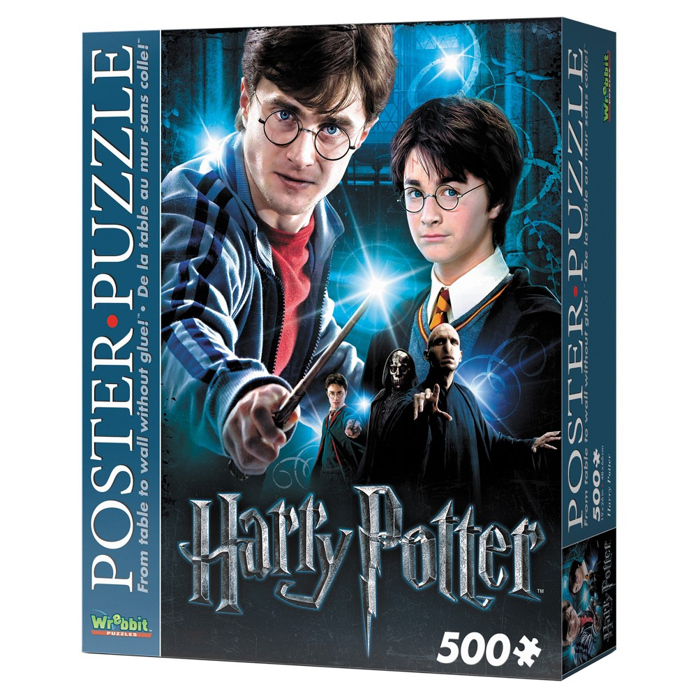 Wrebbit Harry Potter Poster Puzzle 500pc Assemble this exclusive Harry Potter foam-backed 500-piece puzzle and convert it into an actual poster of your favorite characters from J.K. Rowling's Wizarding World! Thanks to snug tight-fitting pieces, Wrebbit's poster-puzzles can be lifted up and pinned to the wall. Take it ''From table to wall without glue!'' Features younger and older Harry Potter and Voldemort. Finished size is approximately 19 inches x 26 inches. Suitable for ages 12 and up. Warning: Choking Hazard - Small parts. Not for children under 3 yrs. Gender: Unisex.